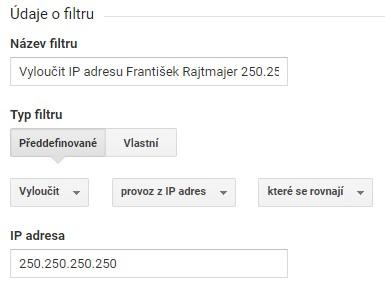 Filtr na vyloučení IP adresy