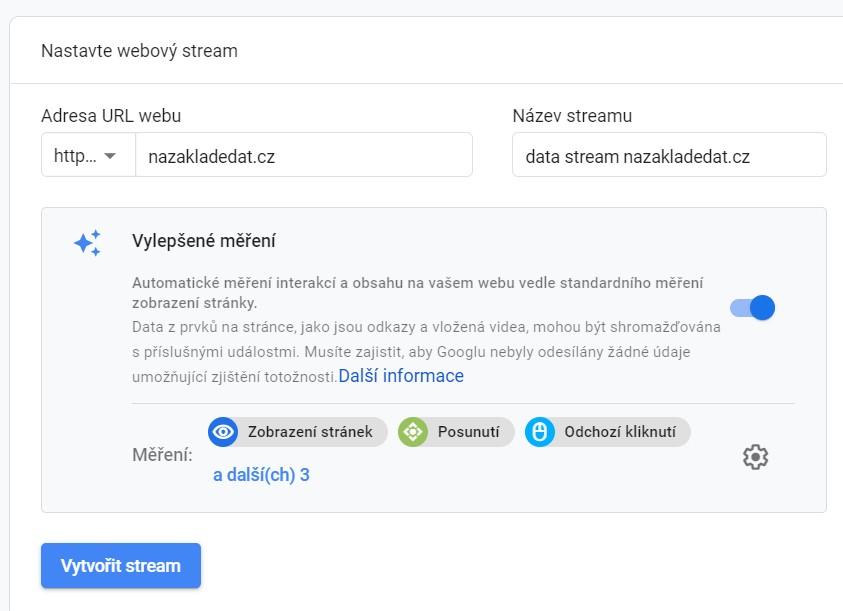 Nastavení datového streamu