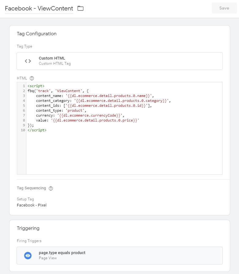 Konfigurace ViewContent