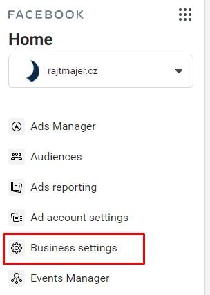 Business settings ve FB Business Manageru