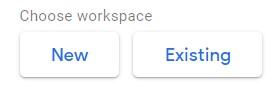 Výběr workspace